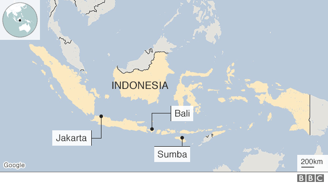 Map of Indonesia showing remoteness of Sumba.
