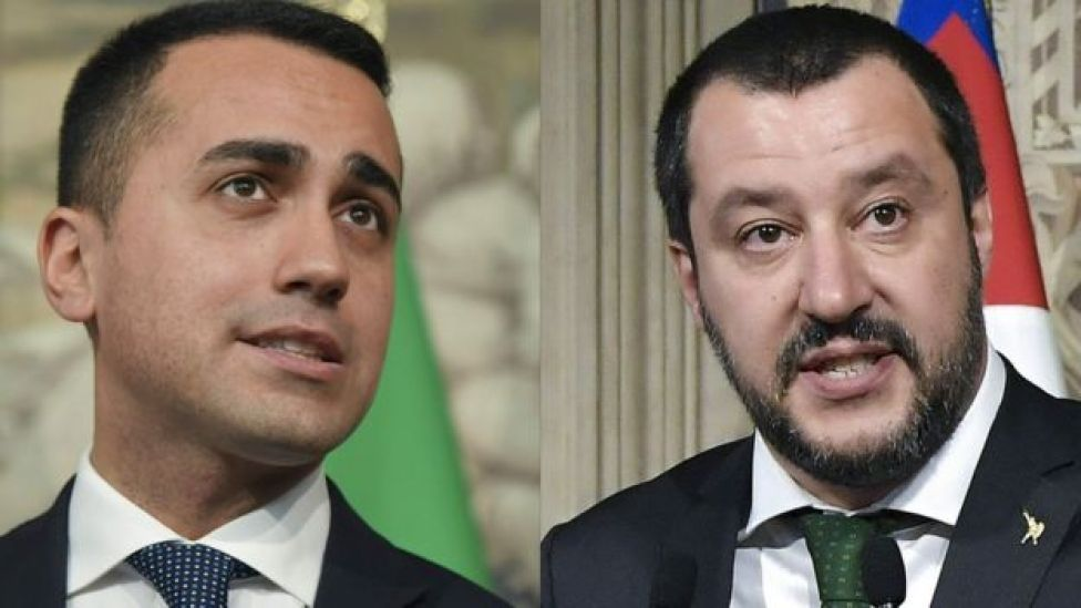 M5S leader Luigi Di Maio (L) and League's Matteo Salvini