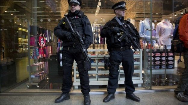 Armed police at St Pancras station, London