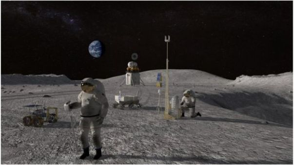 An artist's depiction of Nasa astronauts on the moon for the Artemis mission
