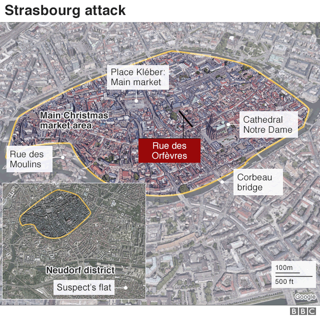 A map showing the area of the attack