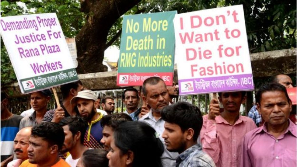 Activists demanding a safe workplace for garments workers in Dhaka, Bangladesh