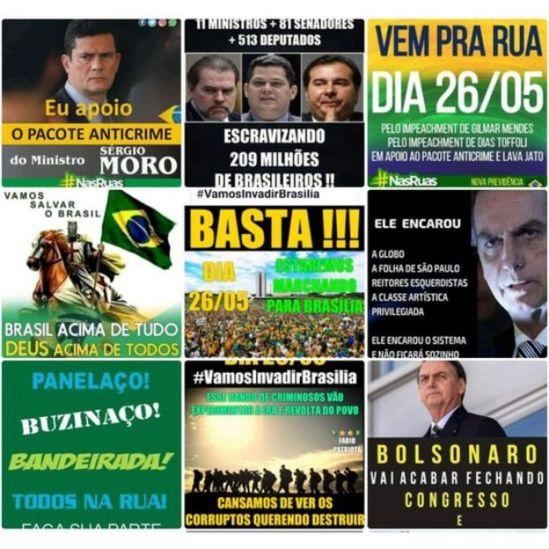 """Mensagens sobre a manifestação reunidas pelo monitor do Whatsapp do projeto """"Eleições Sem Fake"""", coordenado por Fabrício Benevenuto, da UFMG"""