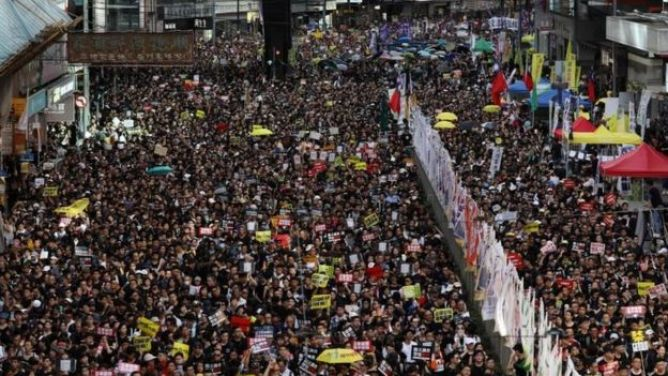 Protesters attend the annual pro-democracy rally in Hong Kong