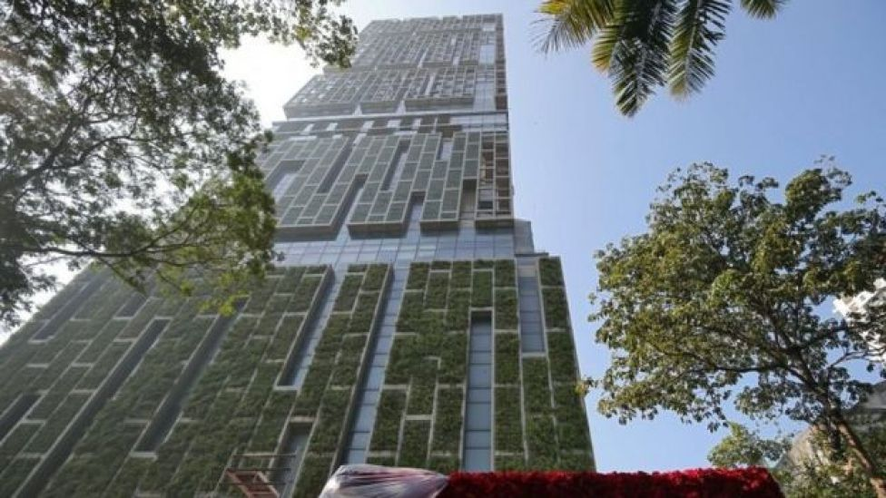 "Antilia, the house of the Chairman of Reliance Industries Mukesh Ambani, is seen ahead of Mukesh""s daughter wedding, in Mumbai, India December 7, 2018."