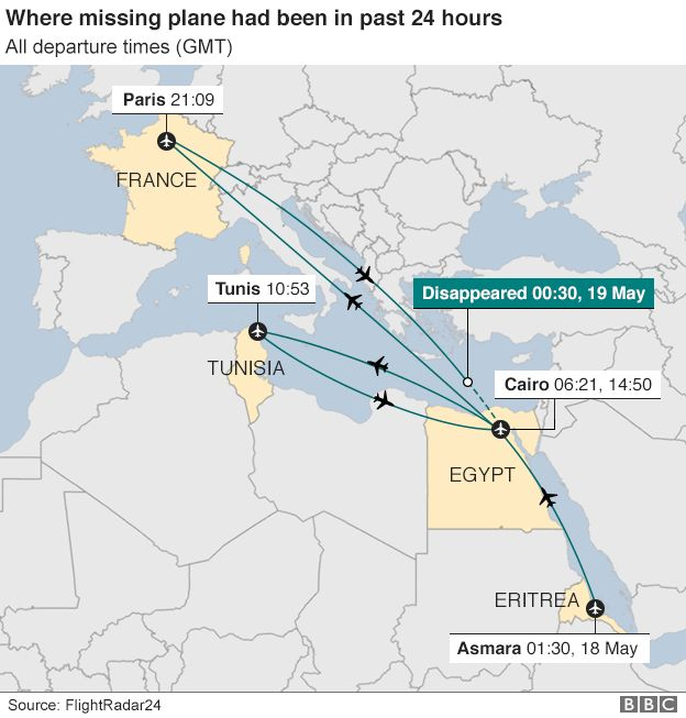 Map showing where the missing plane had been in the previous 24 hours