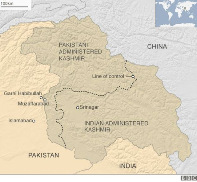 A BBC map showing Indian and Pakistani administered Kashmir
