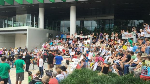 Protesters outside the Lady Cilento Hospital