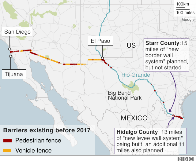 Map showing current barriers on the US-Mexico border