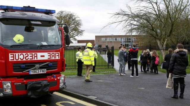 Fire engine outside school