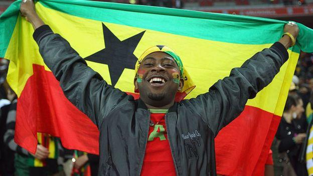 Man with a Ghana flag