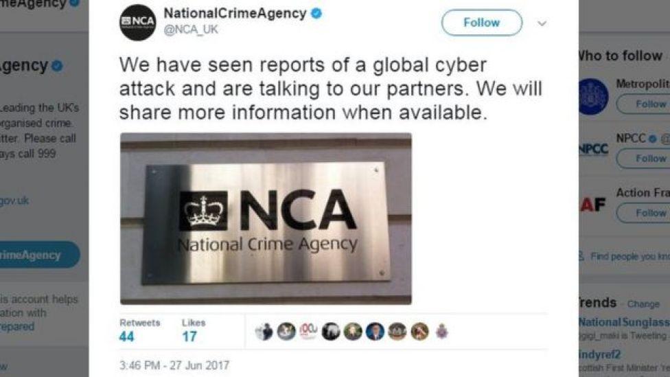 NCA tweet