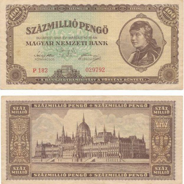 GETTY IMAGES 100 millones de pengős húngaros tenían un valor mínimo en 1946.
