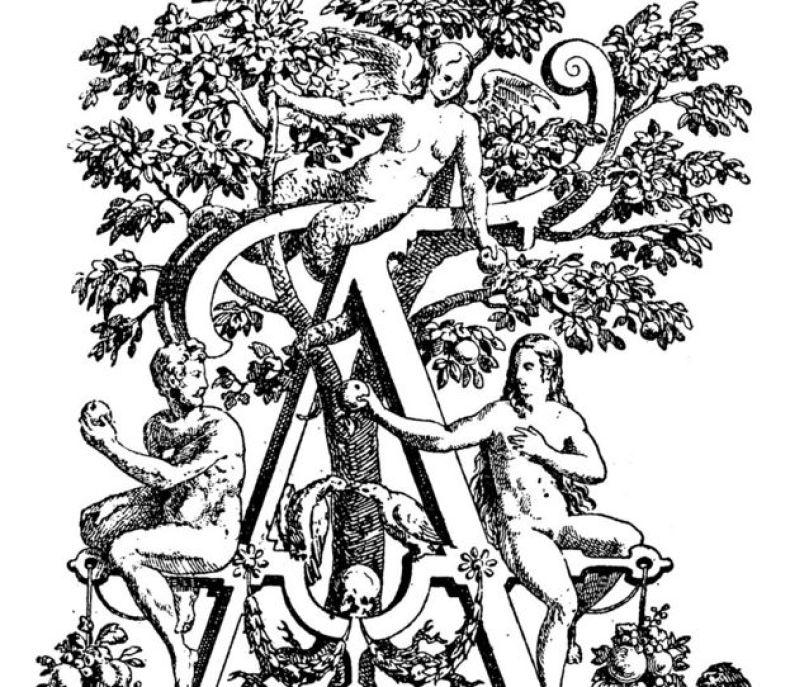 Antigua ilustración de Lilith, con cola de serpiente, con Adán y Eva.