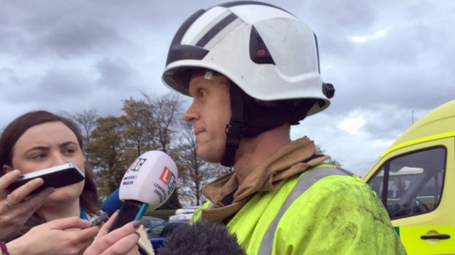 Station manager Dave Winspear talking to media