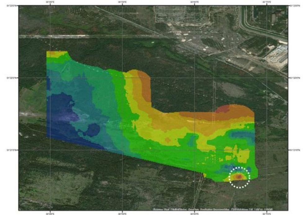 Mapa que muestra los niveles de radiación en el bosque rojo.