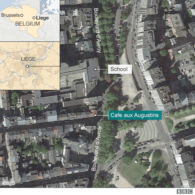 A map showing the site of a shooting in Belgium