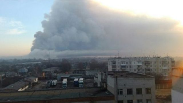 Smoke from munitions dump in Balakliya