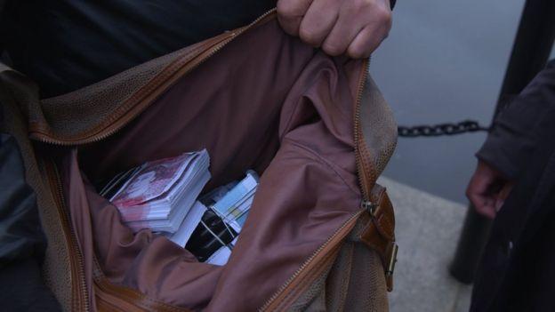 Cash in bag