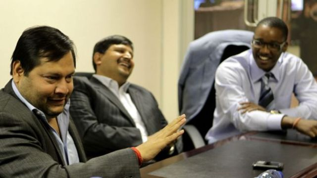 Indian businessmen Ajay and Atul Gupta, and Sahara director, Duduzane Zuma speak to the City Press from the New Age Newspaper's offices in Midrand, Johannesburg, South Africa on 4 March 2011.