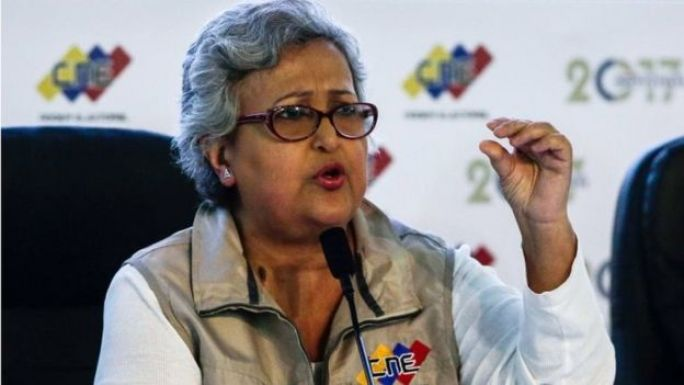 The president of the National Electoral Council (CNE) Tibisay Lucena speaks to the press to present the first report of the elections of the National Constituent Assembly in Caracas, Venezuela, 31 July 2017.