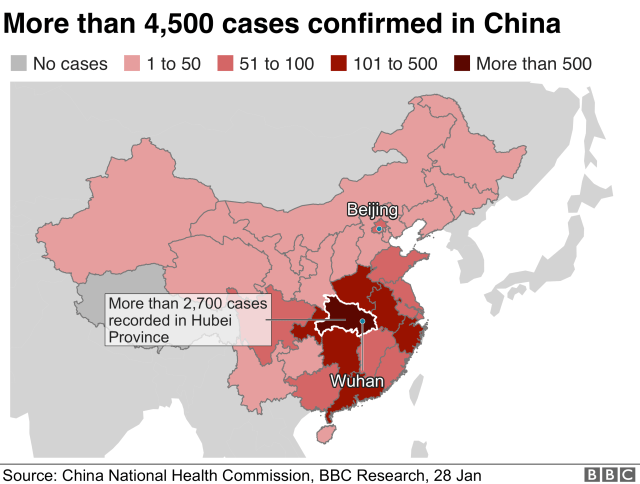 Map shows spread of the virus in China