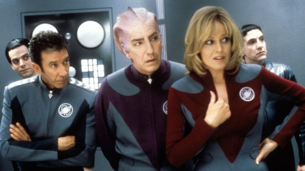 Tim Allen, Alan Rickman, Sigourney Weaver and Patrick Breen in galaxy Quest, 1999