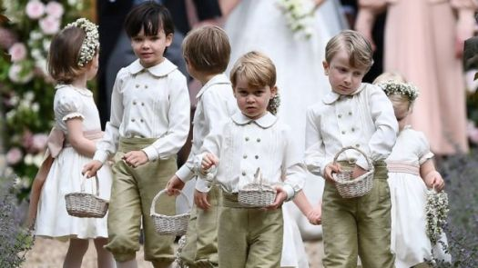 Prince George and Princess Charlotte with other page boys and a flower girl