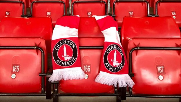 A Charlton Athletic scarf over a seat in the stadium