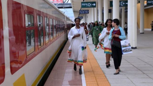 People are seen during an opening ceremony of a railroad line, which is Africa's longest and its first electrified railway line connecting Ethiopia's capital Addis Ababa with the capital and port city of Djibouti in Addis Ababa, Ethiopia on October 05, 2016