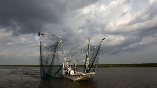 Pescador no Golfo de México
