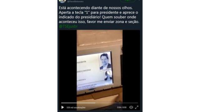 Tuite de Flávio Bolsonaro