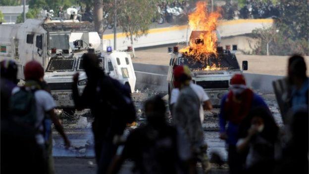 Una protesta en Caracas