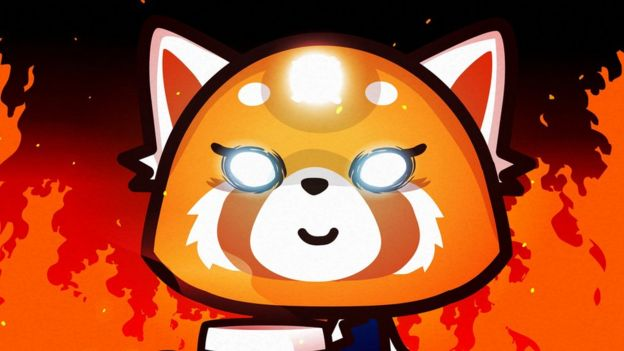 Aggretsuko, surrounded by flames.