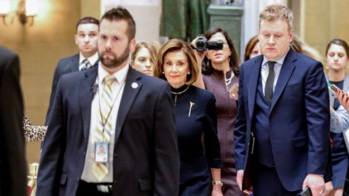 Democratic House Speaker Nancy Pelosi arrives at the Capitol on Wednesday