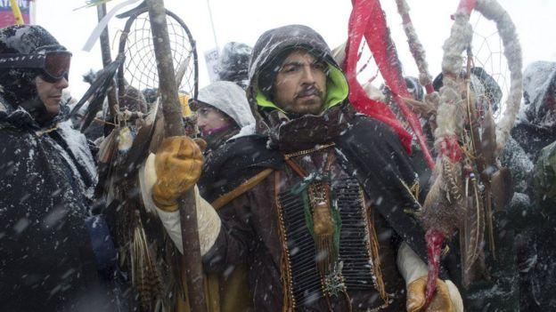 Protestas para frenar la construcción del oleoducto Dakota Access.