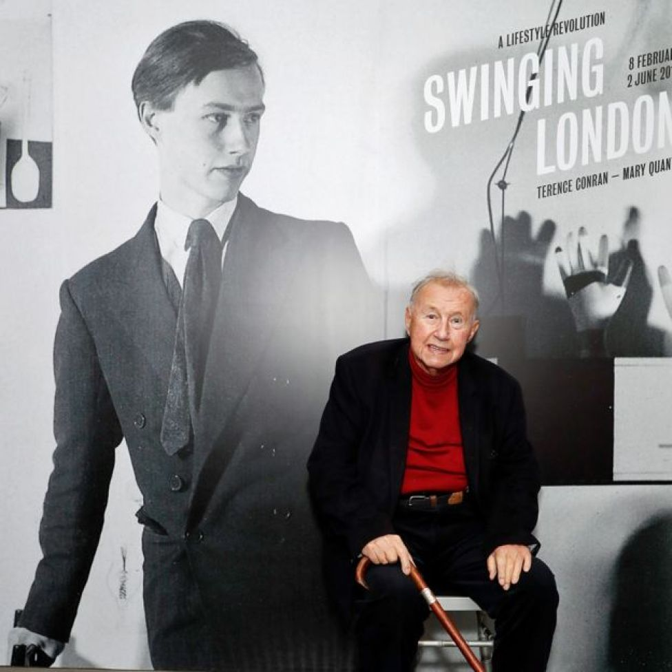 Sir Terence Conran at the launch of the Swinging London exhibition at the Fashion and Textile Museum in 2019