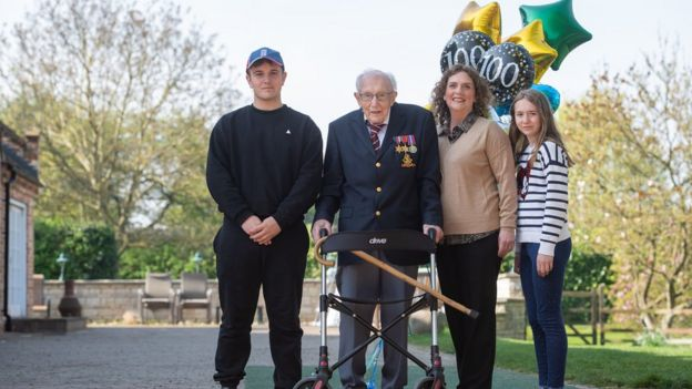 Capt Tom with grandson Benji, daughter Hannah Ingram-Moore and granddaughter Georgia