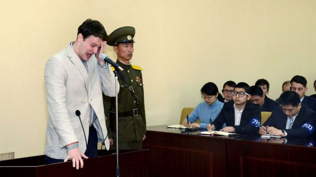 US student Otto Frederick Warmbier at his trial in Pyongyang