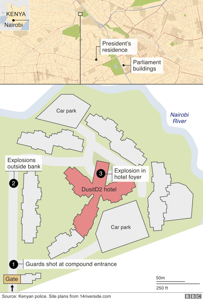 A map shows the complex in Nairobi where attackers opened fire on Tuesday