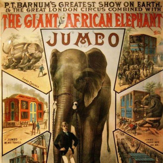Póster del siglo XIX sobre Jumbo Foto: Wiki Commons