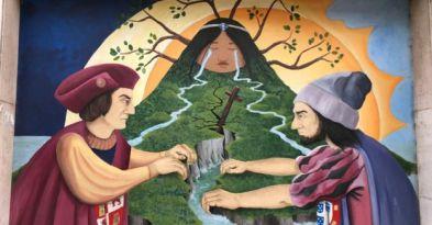 Mural que refleja el reparto de América Latina