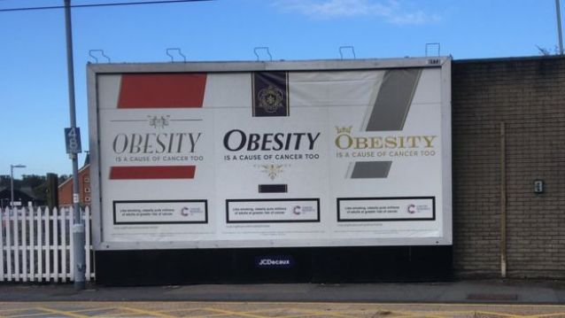 Outdoors com campanha da Cancer Research UK sobre obesidade e câncer