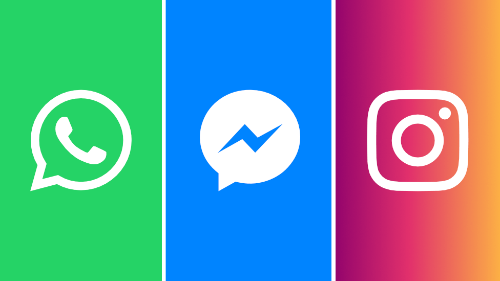 Logos for WhatsApp, Messenger and Instagram