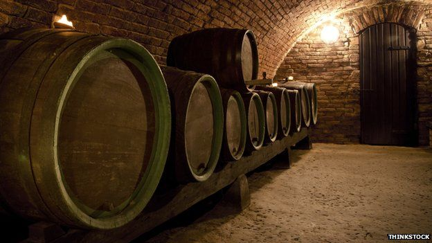 French wine barrels