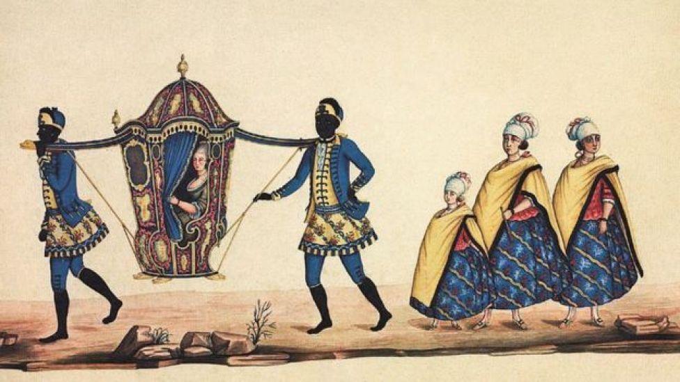 [Dama em liteira, carregada por escravos, e suas acompanhantes], aquarela de Carlos Julião, último quarto do século 18. 35 x 45,5 cm. Fundação Biblioteca Nacional.
