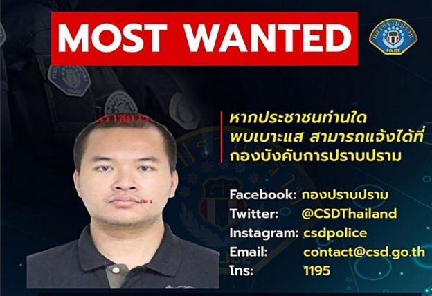 Thai police put a wanted poster on their Facebook page