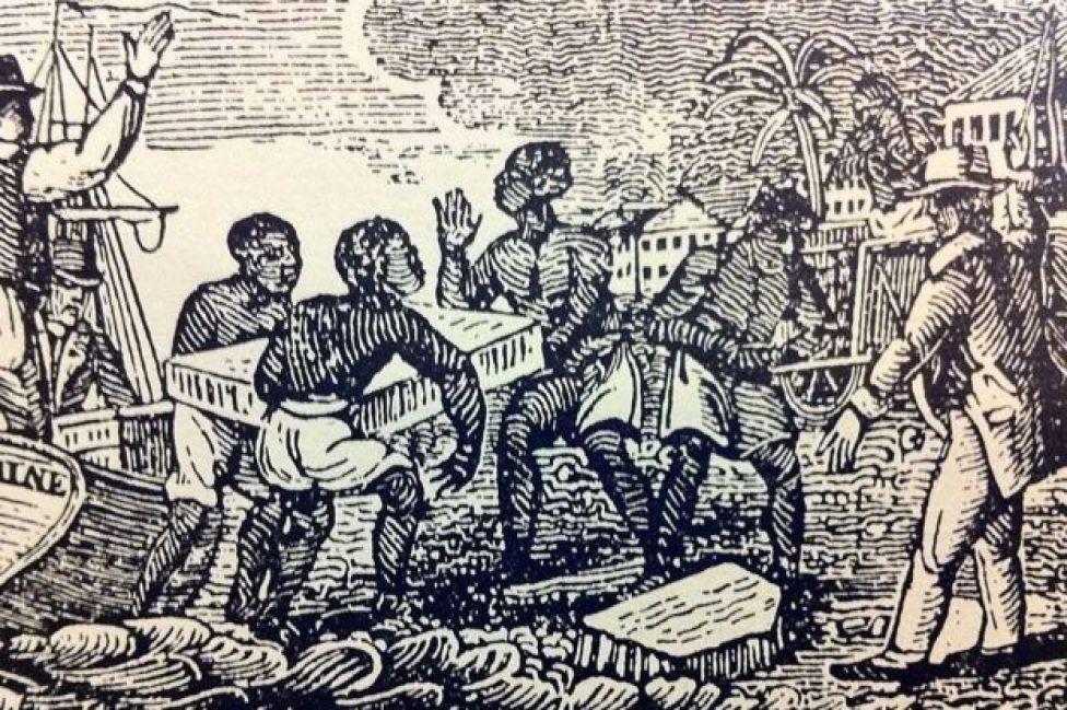 Esclavos bajando hielo de un barco en Cuba en 1832.