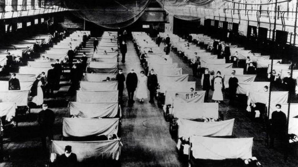 Pacientes contagiados por la gripe española