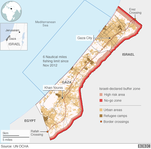 map of Gaza showing buffer zone (on land) and six-mile fishing exclusion zone